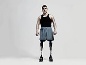 Man with prosthetic legs
