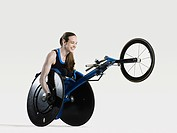 Female wheelchair athlete smiling