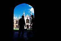 Students standing before entrance to Corpus Christi College