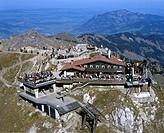 Aerial picture, Mt Nebelhorn, Nebelhorn house, Nebelhornbahn aerial tramway, Daumergruppe Range, Allgaeu Alps, Schwaben, Bavaria, Germany, Europe