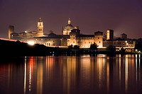 Cityscape of Mantua at night