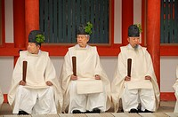 Seated Shinto priests at the archery ceremonial in Shimogamo Shrine, Kyoto, Japan, Asia
