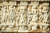 Jainism, reliefs carved in white marble, dancing human figures, Jain Temple Ranakpur, Rajasthan, India, South Asia