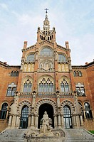 Entrance area, Hospital de Santa Creu i de Sant Pau, designed by architect Lluis Domenech i Montaner, hospital, Barcelona, Catalonia, Spain, Europe