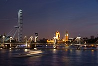 View of Waterloo Bridge, Millenium Wheel and Houses of Parliament