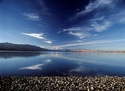 Looking across Lake Pukaki in early evening to Mt. Cook and Southern Alps