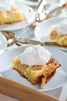 Apple cake with whipped cream