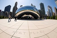 Cloud Gate sculpture, cityscape in background