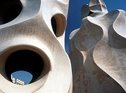 Details of sculptures and chimneys of La Pedrera roof