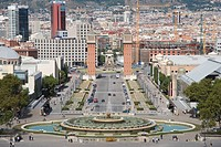 View from National art museum to Avinguda de la Reina Maria Cristina and Plaza d´Espanya, Barcelona, Catalonia, Spain / National museum of catalonia a...