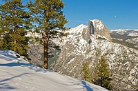 Winter in Yosemite NP  Half Dome and Clouds Rest from Glacier Point