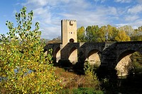 Medieval bridge, Frias, Merindades, Burgos province, Castilla-Leon, Spain