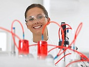 Smiling scientist in laboratory