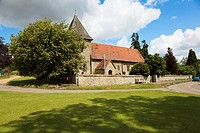 Views of St Dunstan s Church on the attractive village green at West Peckham Kent UK