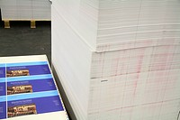 stack of paper in a binding company. Book bindery with pallets of paper