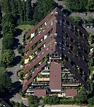 Aerial photograph, pyramidal building, terraced building, Drewer settlement, Marl, Ruhr district, North Rhine-Westphalia, Germany, Europe