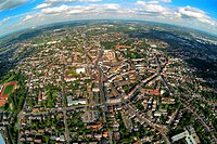Aerial photograph, long shot, fisheye shot, inner city, Bottrop, Ruhr Area, North Rhine_Westphalia, Germany, Europe