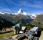 Blauherd cable railway with the Matterhorn in the background, Switzerland