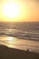 Travel photography from sunset and water at the North Sea, Scheveningen, The Hague, Holland, The Neterlands