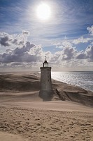 Sandstorm over Rubjerg Knude, a shifting dune in Rubjerg, Hjørring, North Jutland, Vendsyssel, Denmark, Scandinavia, Europe