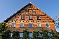 Brick house in the district of Siegelhausen near Marbach on the Neckar, Baden-Wuerttemberg, Germany, Europe