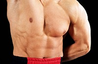 Close up of a body builders muscular body