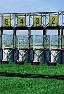 Starting gate on a race track
