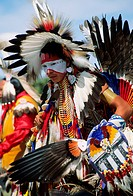Young dancer at Powpow, a traditional meeting of Northamerican Indians, USA, Montana, Milk River