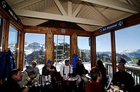 Ski fanatics in Guiseppes Restaurant, Black Iron Bowl in the ski region Telluride, Colorado, USA, North America