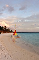 Beach with boat, Full Moon Resort, Maldives, Indian Ocean