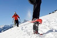 Snowshoe wanderers in Zweisimmen, Rueblihorn, Gummfluh, Saanenland, Gstaad, Western Alps, Bernese Oberland, Switzerland, Europe