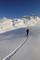 Ski hiker on a tour up Mount Tristkopf, Kelchsau, Tyrol, Austria, Europe
