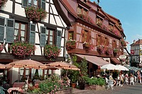 Street cafe in Obernai  Alsace, France