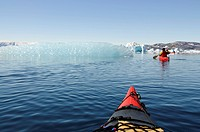 Kayaker in Sermilik Fjord, East Greenland, Greenland