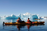Kayakers in Sermilik Fjord, East Greenland, Greenland