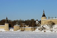 Ploskaya flat Tower, Kutekroma Tower, High or Ressurection Tower by Velikaya River, Kremlin, Pskov, Russia