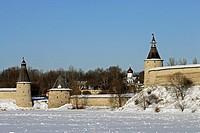 Ploskaya flat Tower, Kutekroma Tower, High or Ressurection Tower by Velikaya River, Kremlin, Pskov, Russia