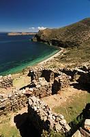 Inca site, Isla del Sol, Titicaca Lake, Bolivia, South America