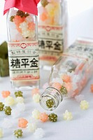 Japanese sweets in glass bottles