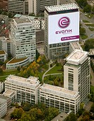 Aerial picture, the former RAG Group Building bearing the new company name EVONIK, head quarters of the Evonik Industries AG, Essen, Ruhr area, North ...