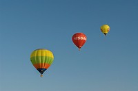 multicoloured hot air balloons at the blue sky, Germany, Saarland, Marpingen