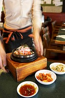 Dolsot bibimbap Rice, vegetables & meat in stone pot, Korea