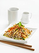 Noodles with tofu, vegetables and nuts Asia