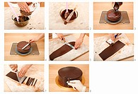 Decorating a chocolate cake