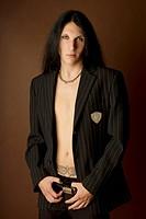 Finnish musician looking earnest, goth