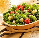 Leaf Lettuce Salad with Tomatoes and Croutons