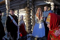 Wedding ceremony, Museum of Wooden Architecture, open-air ethnographic museum, Vitoslavlitsy, Novgorod Oblast, Russia