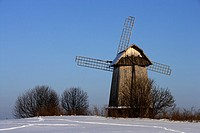 Windmill by Sorot River, winter landscape, domain of Aleksandr Pushkin family, Mikhailovskoye, Pushkinskiye Gory, Pskov Oblast, Russia