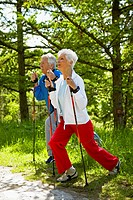 senior couple nordic_walking, warming up