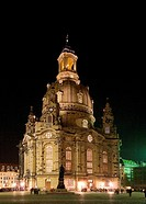 Frauenkirche by night, Germany, Saxony, Dresden